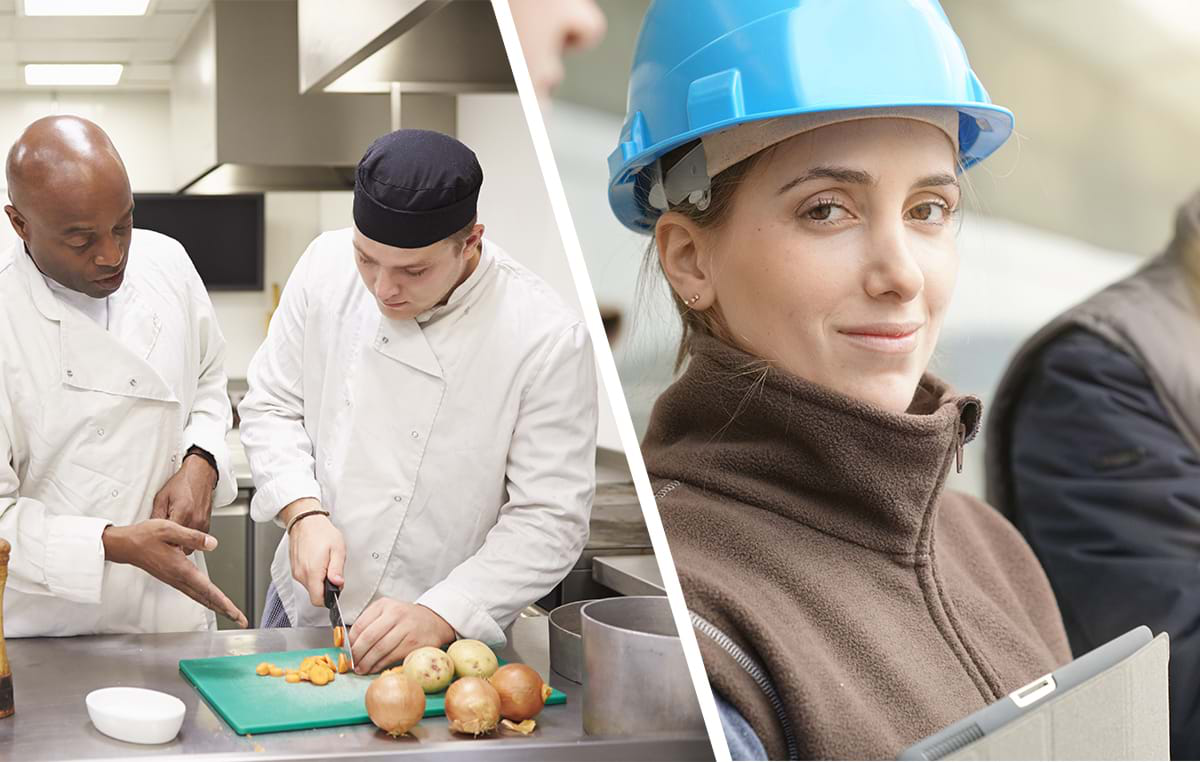 Photograph showing a construction student and a catering student